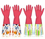 #1: Household Cleaning Rubber Gloves with Cotton Lining, Long Natural Latex Dishwashing Gloves, Medium, Pink, 2 Pairs