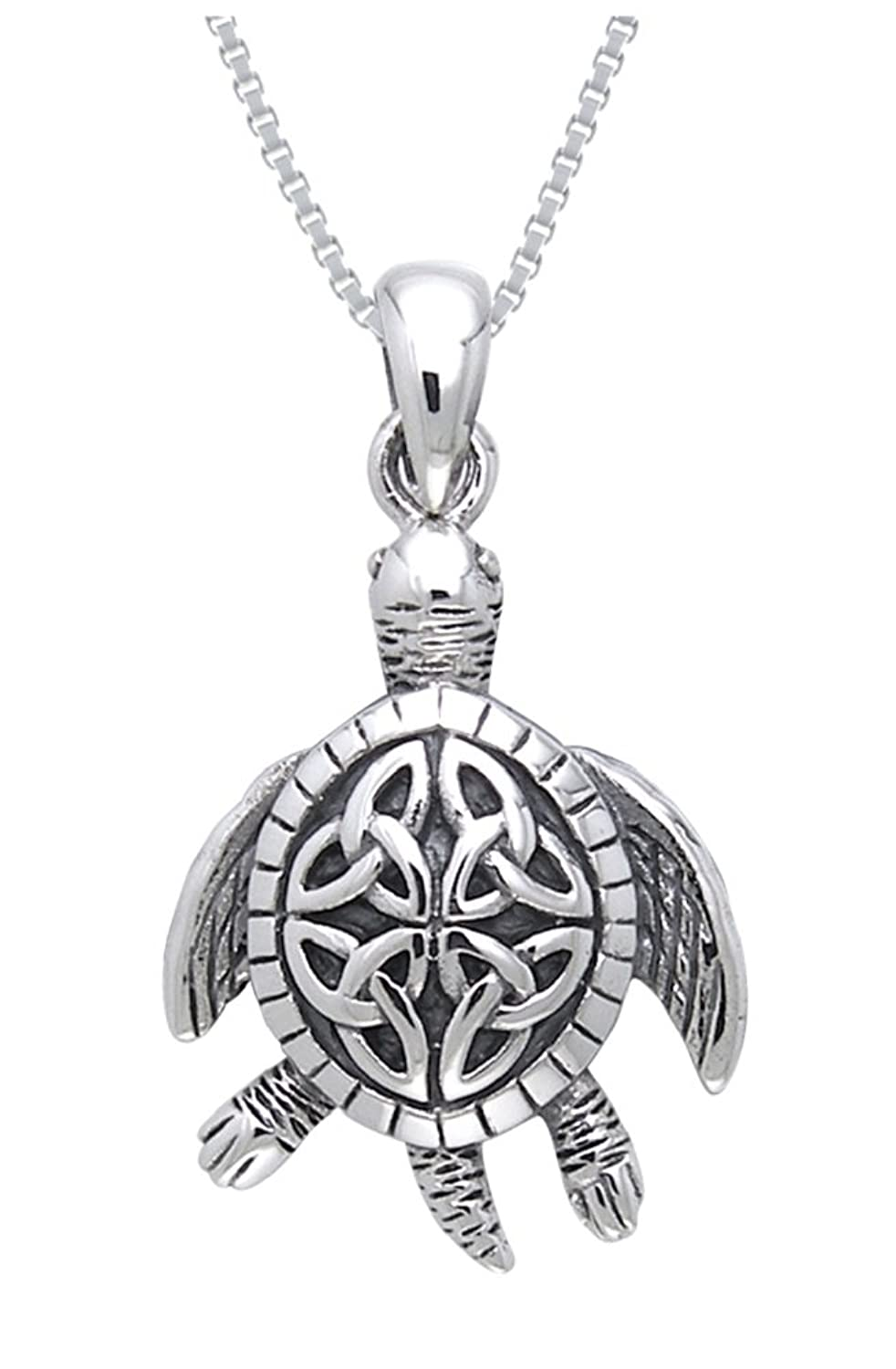 Amazon jewelry trends sterling silver celtic turtle trinity amazon jewelry trends sterling silver celtic turtle trinity knot pendant with 18 inch box chain necklace celtic jewelry for women jewelry mozeypictures Image collections
