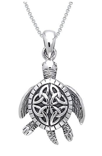 Amazon jewelry trends sterling silver celtic turtle trinity jewelry trends sterling silver celtic turtle trinity knot pendant with 18 inch box chain necklace aloadofball Images
