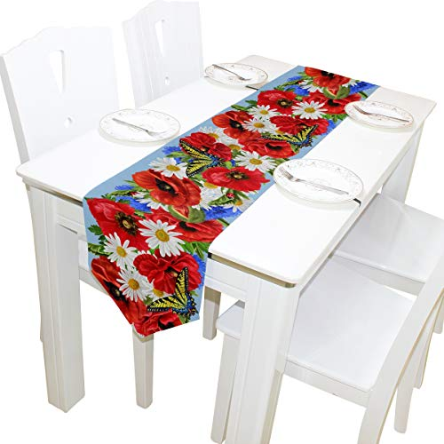 - AGONA Red Flowers Poppies Daisies Butterflies Tropical Palm Leaves Pink Flamingos Polyester Table Runner 13 x 70 Inches Long Table Linens Top for Wedding Birthday Dinner Party Banquets Graduations Eng