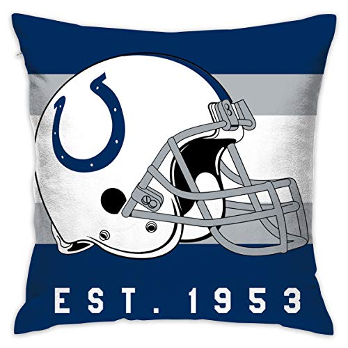 (Gdcover Custom Stripe Indianapolis Colts Pillow Covers Standard Size Throw Pillow Cases Decorative Cotton Pillowcase Protecter Zipper - 18x18)
