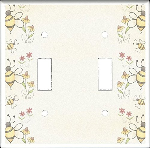 DOUBLE TOGGLE LIGHT SWITCH PLATE - Bees and Flowers from the A is for Annie Country Raggedy Ann Collection