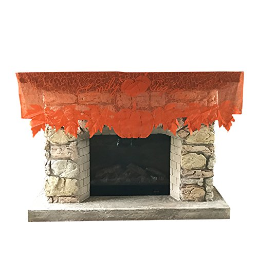 GZDDG Thanksgiving Day Decorations, Black Lace Spiderweb Mantle Fireplace Cover Decoration, Door Window Festive Supplies, Scarf Festive Party Supplies 51 X 152cm /20 x 60 inch(Orange Color)