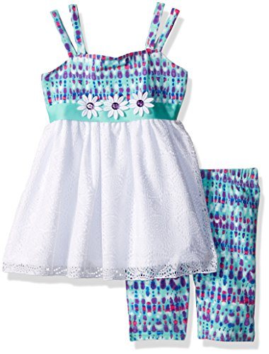 Youngland Little Girls' Tie Dye and Crochet Tunic with Printed Knit Short Legging, White/Multi, (Printed Knit Short)