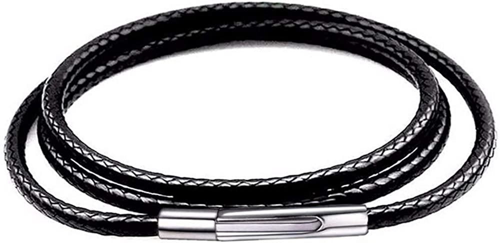 Mixiueuro Collar de cadena de cuero de 2 mm Cadena de cuerda de cera trenzada negra impermeable con actualización Luz ultrafina Nuevos modelos Cierre de acero de titanio
