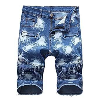 Mogogo Men's Washed with Side Shirring Holes Pocket Bomber Denim Shorts 1 27