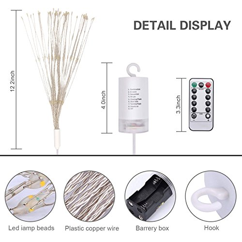 STYDDI LED Starburst Fairy String Lights, 8 Modes 150 LED Firework Spray Bouquet Shape Battery Operated Decorative Lights with Remote Control for Bedroom, Corridor Patio, Garden, Patio, Wedding, Part by STYDDI (Image #1)