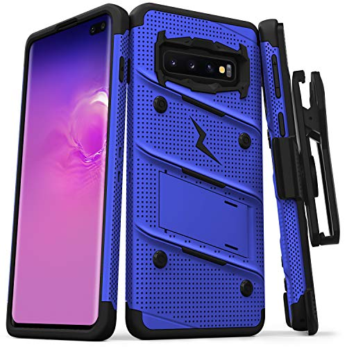 Zizo Bolt Series Compatible with Galaxy S10 Plus Case Military Grade Drop Tested with Built in Kickstand Holster Blue Black ()