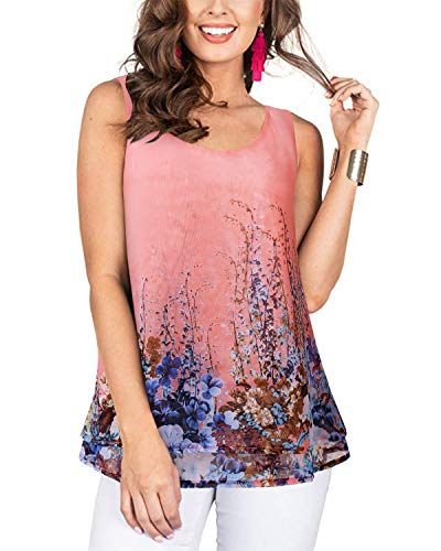 ABYOXI Womens Casual Loose Sleeveless T Shirt O Neck Blouse, Lightweight Cami Tops Pink M