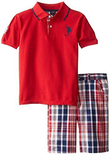 U.S. Polo Assn. Big Boys' Plaid Trim Pique Polo and Plaid Short, Engine Red, 12