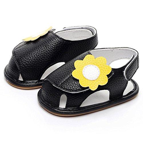 Huhu833 Babyschuhe, Neugeborenes Baby Mädchen Jungen Sommer Schuhe Weiche Sandalen Anti-Rutsch Sandalen Schwarz