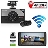 WINYCAM Dash Cam Dashboard Camera Recorder Blackbox- Wi-Fi Easy Control,2CH 1920x1080p Full HD, Motion Detection, Format Free Memory, Night Vision, G-Sensor, Parking Monitor, (Included 32G TF Card)