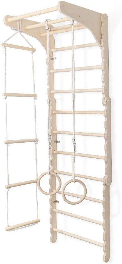 Made in EU 100/% ECO 188 cm Sprossenwand Kinderzimmer Turnwand Kinder Kleinkinder Kletterger/üst Indoor Turnen Wand aus nat/ürlichem Holz | Turnringe Kinder mit Strickleiter Schaukel