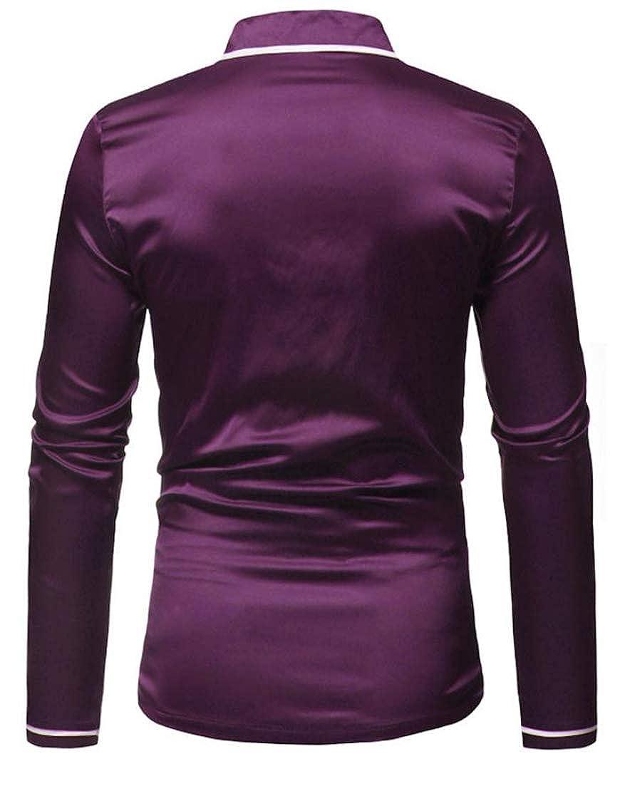 Hajotrawa Mens Classic Long Sleeve Notch Lapel Solid Tops Button Front Shirts