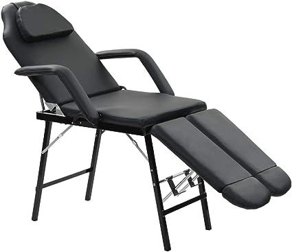 vidaXL Fauteuil de Massage Traitement Facial Simili cuir Noir Lit de Massage