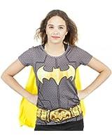 Femmes Batman Superhero Costume T-shirt Avec Le Cap Noir
