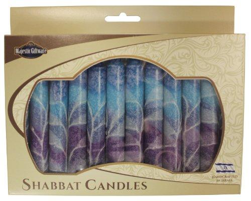 Majestic Giftware SC-SHSF-B Safed Shabbat Candle, 5-Inch, Fantasy Blue, 12-Pack 12 Safed Shabbat Candles