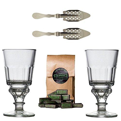 Original Absinth-Zubehör Set mit 2x Absinthgläsern / 2x Absinthlöffel / 1x Absinth-Zuckerwürfel - Das Glas und Löffel Set enthält außerdem eine Trinkanleitung zum Absinth-Ritual!