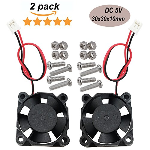 Haitronic 30x30x10mm DC 5V 3010 Quiet(24/32dB) Brushless CPU Cooling Fan (2pin) heat dissipation For Raspberry pi 3, Raspberry Pi 2 Model B/B+ B Plus, 3D printer extruder, DIY Arduino prototyping