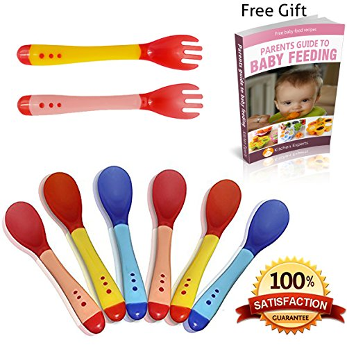 Kitchen Experts Baby Spoons Plus 2 Silicone Forks And Ebook- Perfect For Introducing Solids And First Weaning Foods- Safe