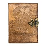 Leather Journal Peacock Embossed Book of Shadows Appointment Organizer Daily Planner Office Handbook College Diary Sketchbook 5 x 7 inches for Men and Women