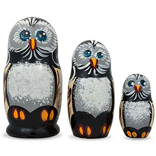 "Price comparison product image BestPysanky 4.25"" Set of 3 Owl Family Wooden Russian Nesting Dolls"