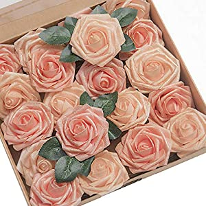 Ling's moment Artificial Flowers Shimmer Blush & Peach Roses 25pcs Real Looking Fake Roses w/Stem for DIY Wedding Bouquets Centerpieces Arrangements Party Baby Shower Home Decorations 34