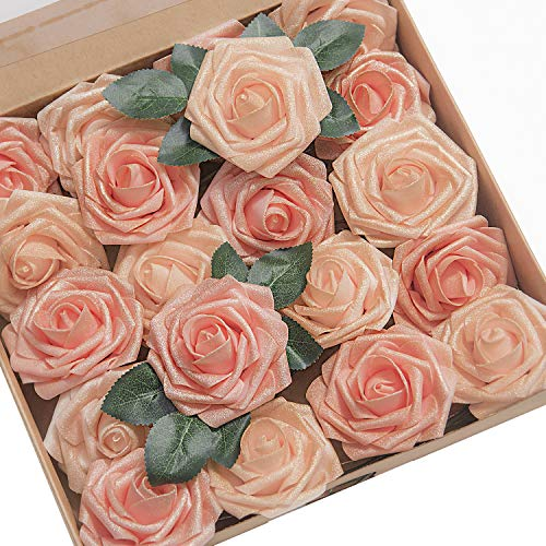 - Ling's moment Artificial Flowers Shimmer Blush & Peach Roses 25pcs Real Looking Fake Roses w/Stem for DIY Wedding Bouquets Centerpieces Arrangements Party Baby Shower Home Decorations