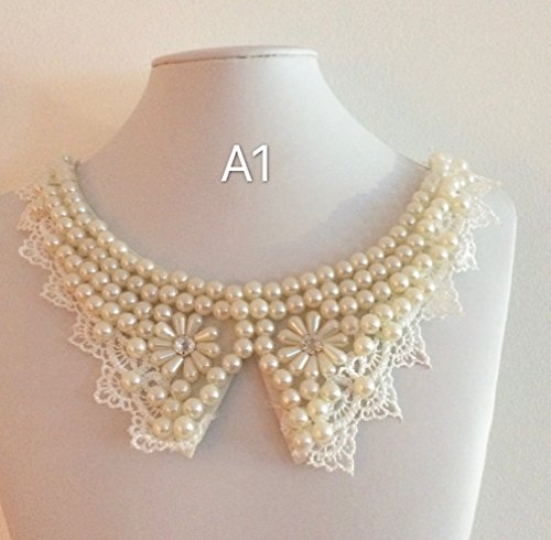 A1 and A2, Two Piece Women's Fashion beaded lace collar, Vintage Style Collar, Necklace Style Collar, Sewing, DIY Clothing Design