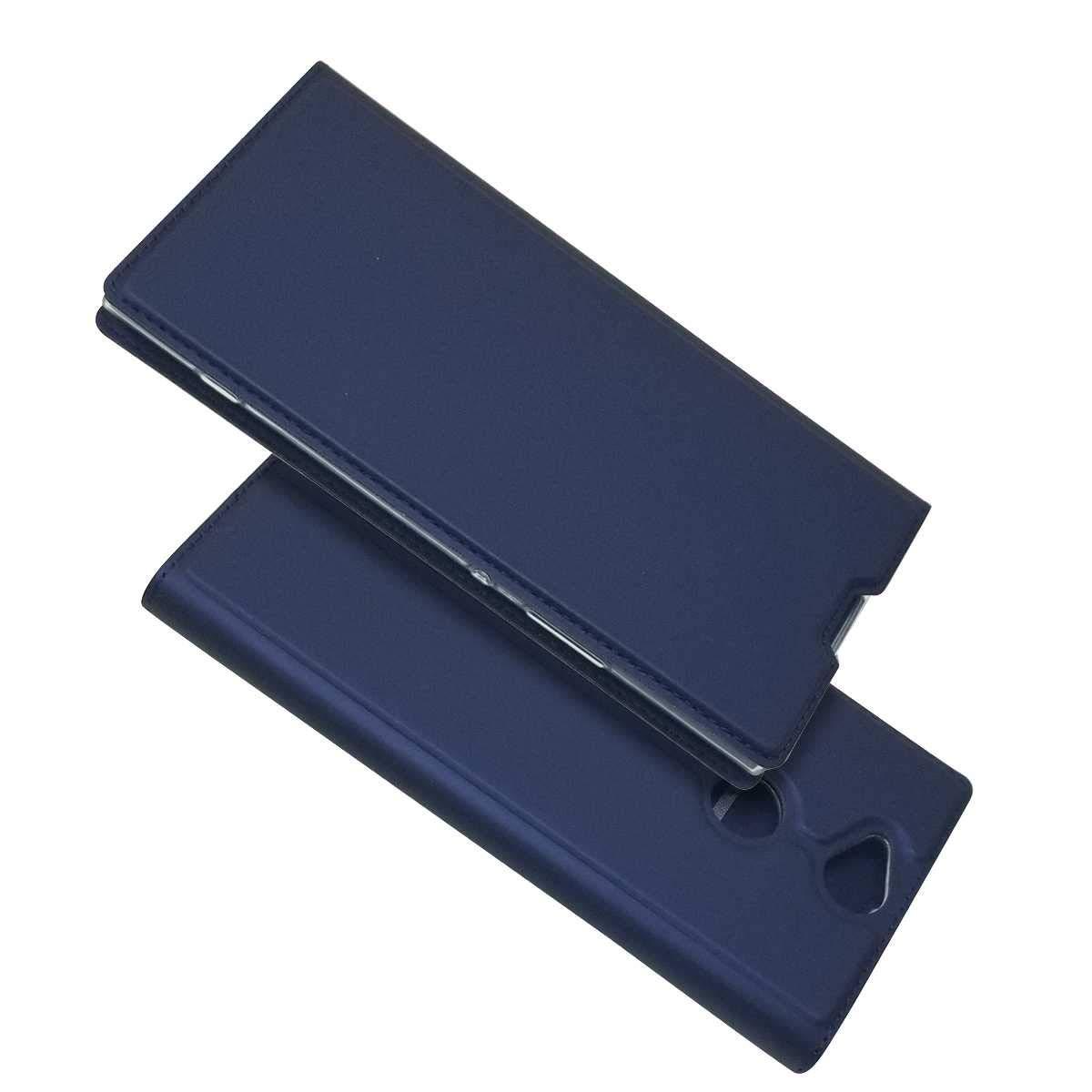 KKEIKO Sony Xperia XA2 Ultra Hü lle, Sony Xperia XA2 Ultra Leder Handyhü lle Schutzhü lle [ mit Gratis Panzerglas Schutzfolie ], Stoß sichere Lederhü lle Brieftasche case fü r Sony Xperia XA2 Ultra - Blau KTG22-SNXA2U-B04