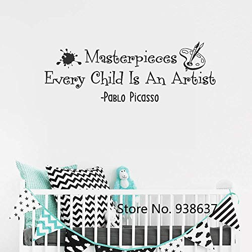 RONGAN Every Child is an Artist Art Display Wall Stickers Quotes Kids Playroom Decor Nursery Words Decals 118X42Cm