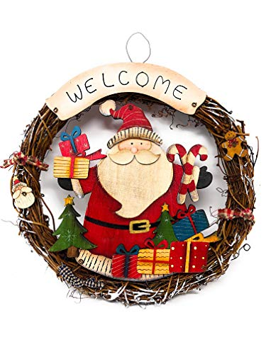 STC World Snowman Wreath Welcome Willow Colorful Sign Christmas Holiday Decoration for Door Wall Display Indoor Outdoor 12