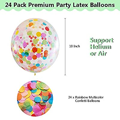 Multicolor Rainbow Confetti Balloons | ANYFEEL 36 Pack Latex Party Balloons Bulk | Clear Sprinkle Balloons with Bright Colorful Confetti | Wedding Engagement Birthday Party Bridal Proposal Baby Shower Bachelorette| Party Supp