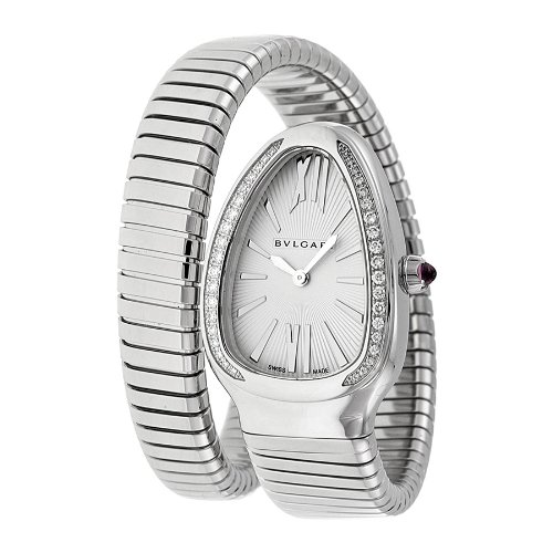 Bvlgari Serpenti Silver Dial Steel Bracelet Ladies Watch (Bvlgari Silver Watch)