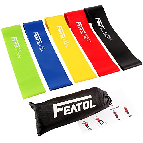 FEATOL Resistance Loop Bands- Set of 5 Premium Exercise Bands - Home& Gym Workout Bands for Yoga, Stretching and Physical Therapy, Suitable for Women and Men, Includes Exercise Guides& Handy Carry Bag
