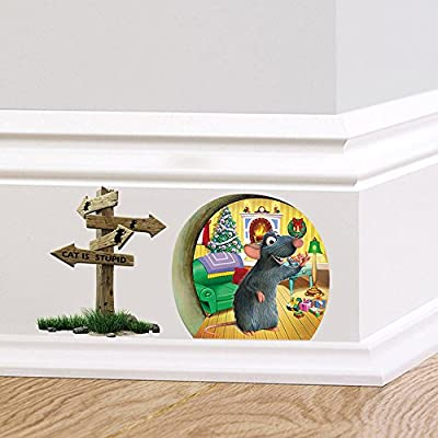 ufengke Mouse Hole Christmas Wall Decals, Children's Room Nursery Removable Wall Stickers Murals: Toys & Games