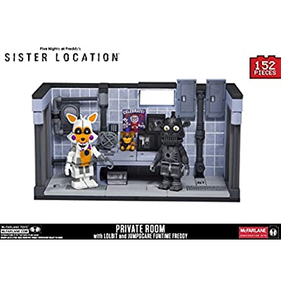 Five Nights at Freddy's Sister Location Series 3 Private Room Construction Set with Lolbit and Jumpscare Freddy Figures: Toys & Games