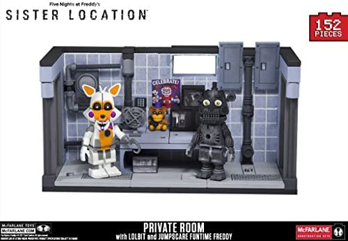 Amazon Com Five Nights At Freddy S Sister Location Series 3 Private Room Construction Set With Lolbit And Jumpscare Freddy Figures Toys Games