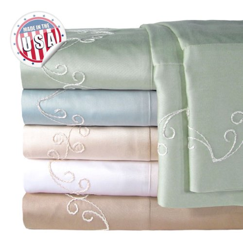 Veratex Bedding Collection 300Tc Scroll Sheet Set C.King Ivory ()