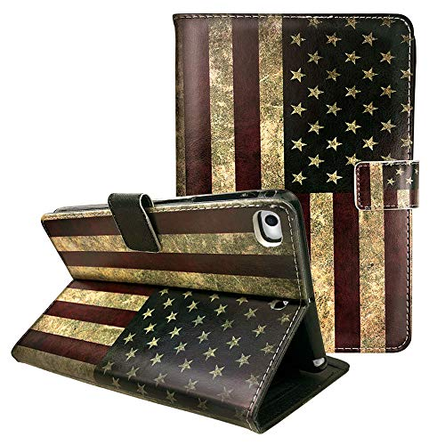 Ademen 2019 iPad Mini 5 PU Leather Case, Vintage US Flag Protective Folio Smart Case Cover with Magnetic Auto Sleep Wake Function for iPad Mini 5 and iPad Mini 1, 2, 3, 4 (American Flag I Pad Mini Case)