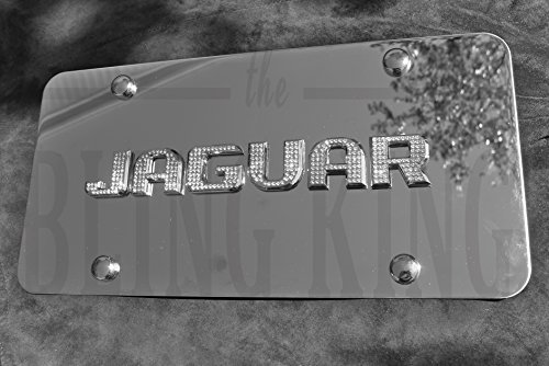 Jaguar Chrome License Plate Tag with Swarovski Iced Out Crystal Emblem by Bling King