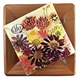 Bunch of Fall Flowers Ideal Home Range Cocktail Fall Napkins 20-Count + 8 Copper Linen Salad Dessert Plates Party Bundle