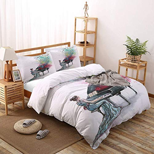 BEIDIDA 4pcs Queen Size Duvet Cover Set Girl Playing The Piano Lightweight Easy Care Bedding Set for Men, Women, Boys and Girls