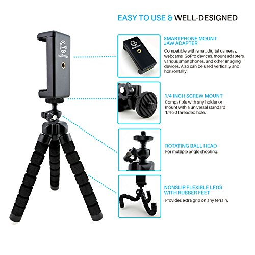 GoStellar Universal Flexible Mini Tripod, Lightweight, Ball Head for Cameras and Smartphone Devices, Mount Adapter, Bluetooth Remote Shutter (Wrist Strap) by GoStellar (Image #2)