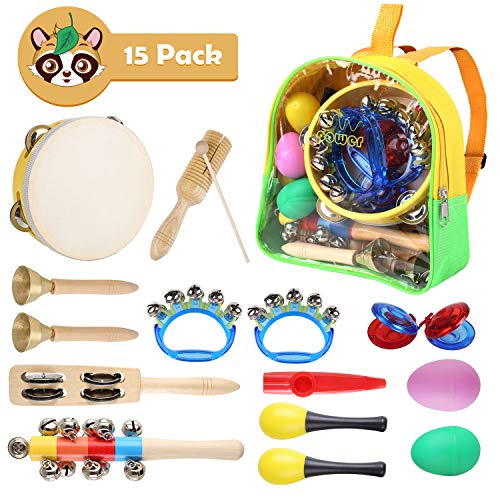 Kids Musical Instruments Set - 15 Pcs Early Learning Toys for Toddlers, Preschool Includes Tambourine, Bell Stick, Maraca, Flute, Egg Shaker, Triangle, Finger Clapper, Tone Blocks and Backpack ()
