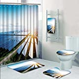 PRUNUSHOME 5-piece Bathroom Set-Includes Shower Curtain Liner,solar panels with the sunny sky blue solar panels background Decorate the bathroom(Large)