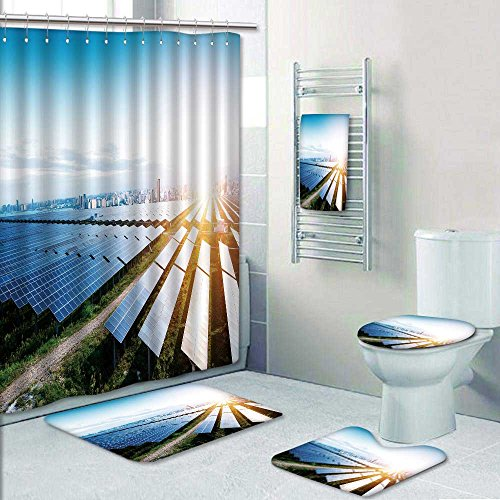 PRUNUSHOME 5-piece Bathroom Set-Includes Shower Curtain Liner,solar panels with the sunny sky blue solar panels background Decorate the bathroom(Large) by PRUNUSHOME (Image #6)