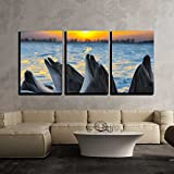 wall26 - 3 Piece Canvas Wall Art - the Bottle-Nosed Dolphins in Sunset Light - Modern Home Decor Stretched and Framed Ready to Hang - 16''x24''x3 Panels