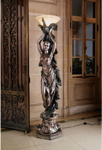 Floor Sculpture - 6ft Classic French Art Deco Decorative Peacock Lady Statue Art Nouveau Floor Lamp