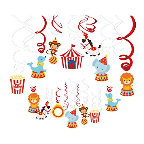 Baby Shower Circus Theme (Kristin Paradise 30Ct Carnival Hanging Swirl Decorations - Circus Animals Party Supplies - Circo Birthday Favors for Kids - Ceiling Streamers - Baby Shower, 1st, First Bday Theme)